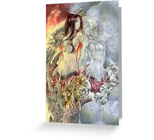 Chaos Sisters  Quelaag and Fair Lady (Quelan) Greeting Card