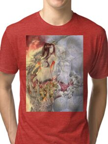 Chaos Sisters  Quelaag and Fair Lady (Quelan) Tri-blend T-Shirt
