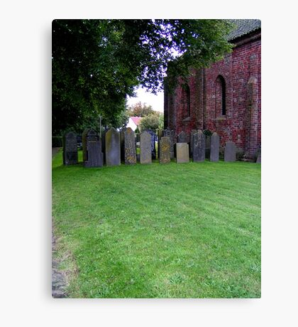 Sheltered grave stones Canvas Print