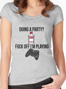 Doing a party? Fuck off i'm playing. Xbox Black font Women's Fitted Scoop T-Shirt