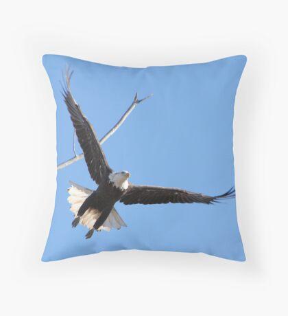 Eagle Flying Away Throw Pillow