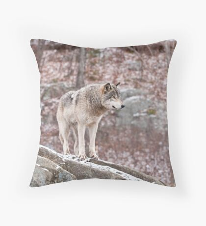 Timber Wolf on Outcropping Throw Pillow