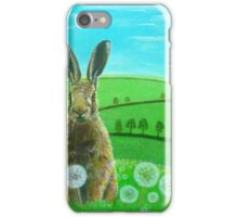 Fat hare in dandelions iPhone Case/Skin