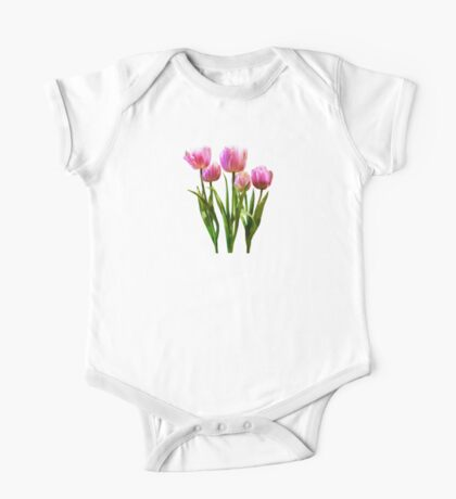 Pink Pastel Tulips One Piece - Short Sleeve