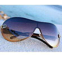 Palm Trees Reflected in Sunglasses Ocean Background Photographic Print