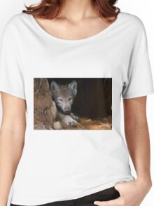 Timber Wolf Pup in Den Women's Relaxed Fit T-Shirt