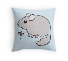 Sweet Chinchilla with Pink Flower  Throw Pillow