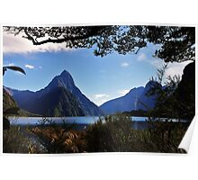 mitre peak, south island Poster