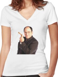 George Constanza with cigar  Women's Fitted V-Neck T-Shirt