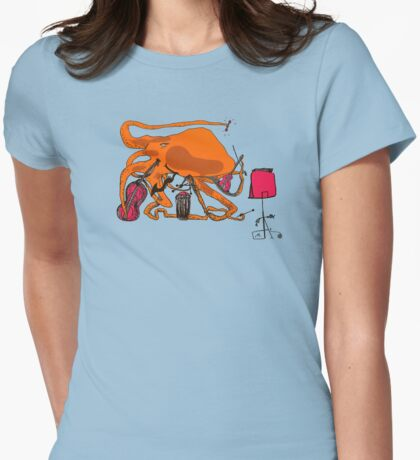 Playful Octopus Womens Fitted T-Shirt