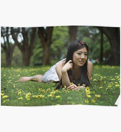 Japanese Flower Girl Poster