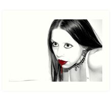 Feeding (Mostly Black and White, Gothic Photo Portrait With Blood) Art Print