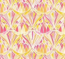 Art Deco Pattern in Pink and Orange by micklyn