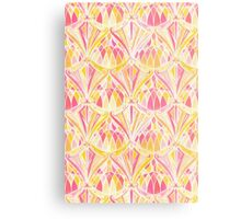 Art Deco Pattern in Pink and Orange Metal Print