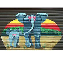 Elephants at the Garage Door Photographic Print