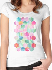 Pretty Pastel Hexagon Pattern in Oil Paint Women's Fitted Scoop T-Shirt