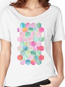 Pretty Pastel Hexagon Pattern in Oil Paint Women's Relaxed Fit T-Shirt