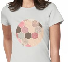 Caramel, Cocoa, Strawberry & Cream Hexagon & Doodle Pattern Womens Fitted T-Shirt