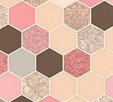 Caramel, Cocoa, Strawberry & Cream Hexagon & Doodle Pattern by micklyn