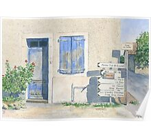 House with roadsigns, St Sornin, France Poster