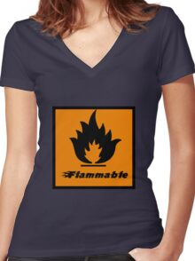 Flammable Women's Fitted V-Neck T-Shirt