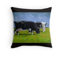 Holstein Dairy Cows Grazing, Pastel Painting Throw Pillow