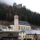 Church & Midieval Castle above -( Burg Finstergrün ) by Lee d'Entremont