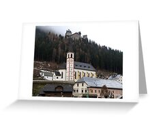 Church & Midieval Castle above -( Burg Finstergrün ) Greeting Card