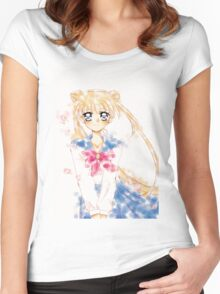 Sailor moon Water Color  Women's Fitted Scoop T-Shirt