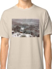 Brown brushstrokes on white Classic T-Shirt