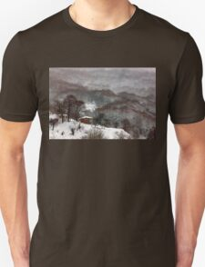 Brown brushstrokes on white T-Shirt