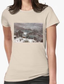 Brown brushstrokes on white Womens Fitted T-Shirt