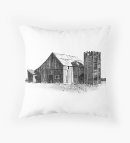 Old Barn and Wooden Silo, Pencil Drawing, Farm, Country Throw Pillow