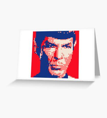 Pixel-ated 8-bit Star Trek Spock Pink/Blue Greeting Card