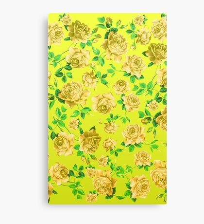 Vintage Yellow Roses on Neon Yellow Background Canvas Print