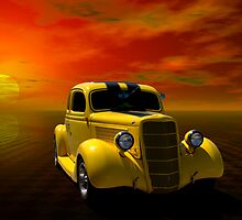 "1935 Ford Coupe Custom Hot Rod ""The Yellow Jacket"" by TeeMack"