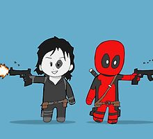 Chibi Deadpool and Domino  by Chris Thomasma