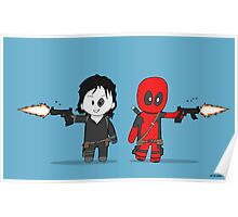Chibi Deadpool and Domino  Poster
