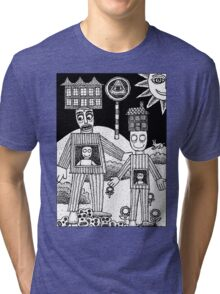 Tinky Winky Suddenly Wakes Up Tri-blend T-Shirt