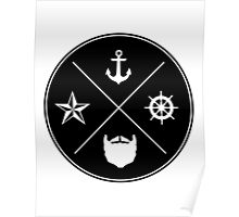 Bearded Sailor Seal Poster