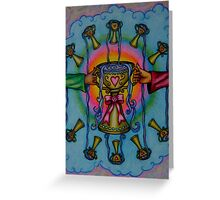 Ten of Cups Tarot Pink for Cancer Greeting Card