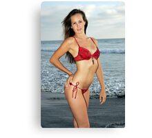 Blonde on the beach Canvas Print