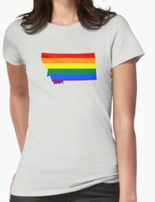 LGBT Flag Map of Montana  Womens Fitted T-Shirt