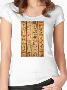 Egypt hieroglyphs, grunge seamless pattern Women's Fitted Scoop T-Shirt