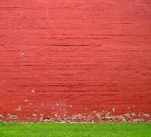 red brick wall with grass by greg angus