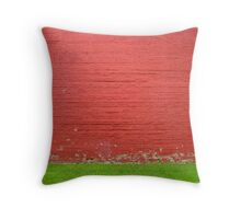 red brick wall with grass Throw Pillow