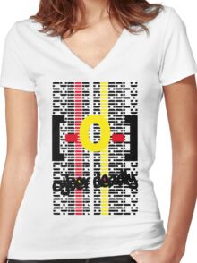 CYBER DEADLYiii [-0-] Women's Fitted V-Neck T-Shirt