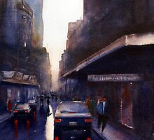 Wet Day,Lt Collins St, Melbourne by Joe Cartwright