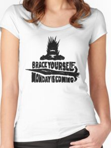 Monday is Coming  (Game of Thrones) (Black) Women's Fitted Scoop T-Shirt