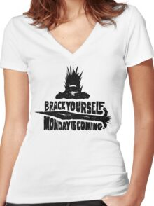 Monday is Coming  (Game of Thrones) (Black) Women's Fitted V-Neck T-Shirt